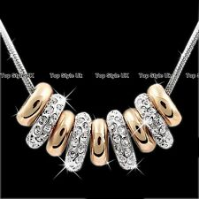 Rose Gold & Silver Rings Necklace Pendant Chain Xmas Gifts for Her Girlfriend E5
