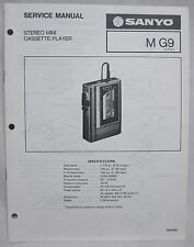 SANYO M-G9 Mini Cassette Recorder Original SERVICE MANUAL walkman