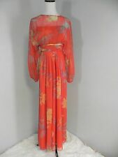 SN- Vtg Shannon Rodgers Red Boho Floral Sheer Chiffon Batwing Maxi Dress XS/S