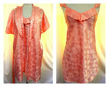 Lily of France Vintage Gown and Robe Pink Jacquard ILGWU Label USA Fits M-L