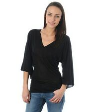 EXTÉ EXTE black silk sweater jumper pull maglia donna seta perline 42 IT S/M NWT