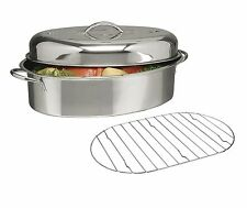 "Stainless Steel Top Roast Roasting Pan Rack and Lid 16""x12""x8"""