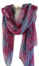 Boho Gypsy Beautiful Patchwork Print Pashmina Scarf Wrap Denim Blue Wine White