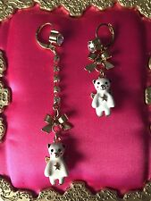 Betsey Johnson Snow Angel Winter Winged White Polar Bear Bow Mismatch Earrings