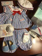 Bitty Baby Sets Sail Nautical Sailor Boat NIB American Girl Book Hat Blue Crayon
