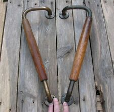 """Pair of Large Old Wood and Brass Door Pull Handle Wooden / Shop / Pub / Bar 16"""""""