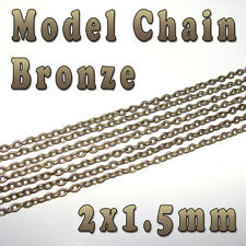 HOBBY MODELLO CHAIN - 1.5mm x 2mm-color bronzo-al metro