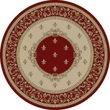 "5' Round (5'3"") Fleur de Lis Lys Red Area Rug **FREE SHIPPING**"