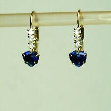 14k solid yellow gold 5mm heart shape blue Sapphire earrings leverback 1.1 gram