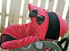 red polka dots w/ black minky infant car seat Cover and hood cover w/ bow and em