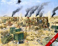 EL ALAMEIN WWII BRITISH ARTILLERY VS GERMAN TANKS PAINTING ART REAL CANVAS PRINT