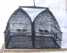 ANTIQUE METAL WIRE HANGING DOUBLE BEEHIVE DOME BIRD CAGE HAND MADE AVIARY SELLER