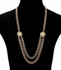 "Vintage DOUBLE Lion Head Statement Necklace DOUBLE LINK CHAIN Greek Key 18""-Gold"