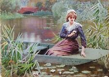 Amazing Pre-Raphaelite Lucien Davis RI 1860-1941 WaterColour Signed waterlilies