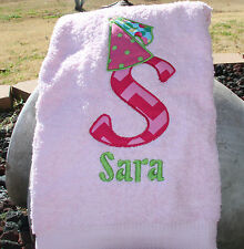 Personalized Embroidered Princess Hat Big Letter Applique and Name Pink Bath Twl