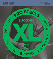 D'ADDARIO EPS220 PROSTEELS BASS STRINGS, SUPER LIGHT GAUGE 4's - 40-95