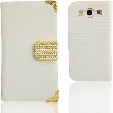 White Crocodile Bling Diamond Wallet Case for Samsung Galaxy S3 Purse Cover