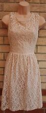 ZARA FLORAL LACE PINK DUSTY PINK NUDE A LINE FLIPPY FLAPPER FLIPPY TEA DRESS 12