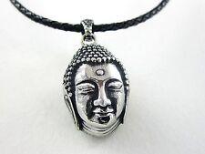Edelstahl Anhänger Buddha Buddhakopf mit Lederkette Buddhismus Zen