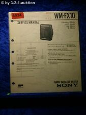 Sony Service Manual WM FX10 Cassette Player (#4034)