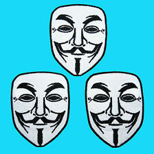 3 LOT VENDETTA ANONYMOUS Guy Hacker Fawkes Mark Face Embroidered Iron On Patch *