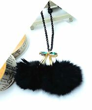 ConMiGo C010080 black chain with 2 green crystals and black fur tail pendant