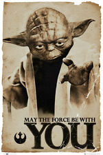 Star Wars Yoda May The Force Movie Poster Print, 24x36
