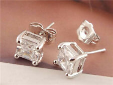New 1pair Sterling Silver Nice Clear Square Cubic Zirconia Ear Stud Earrings WWA