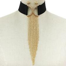 "13"" gold clear stones drop chain choker collar bib necklace 9.50"" fringe tassel"