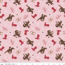 By 1/2 Yard ~ Cowgirl Toss Pink ~ Riley Blake Fabric Western Horse Boots Hat