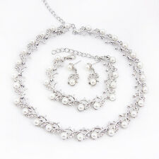 Fashion Pearls Jewelry Sets Wedding Bridal Pearl &Crystal Necklace Earring Set