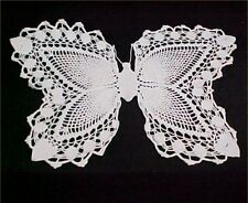 Vintage Antique Hand Crocheted LACE Doily 40s Butterfly Shape White Tablecloth