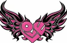 Love Heart With Wings PINK Lady Girl Embroidered Motorcycle Biker Patch LRG-0007