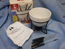NIB ROSHCO DESSERT FONDUE SET WHITE CERAMIC POT 4 FORKS RECIPE INSTRUCTIONS