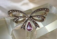 Vintage Marcasite Double Bow Amethyst Pear Stone Drop Brooch signed
