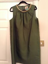 FWM green silk dress with gold chain trim size 16