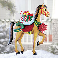 Holiday Horse with Gifts Garden Stake Christmas Decoration Metal Yard Lawn New