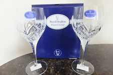 2 Stems of Royal Doulton ASCOT Crystal Wine Glasses New in Box, Made in France