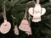 10 x wooden Christmas personalised  tree ornaments, gift tags, decorations