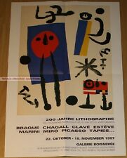 GERMAN EXHIBITION POSTER 1997 - CHAGALL PICASSO BRAQUE 200 YEARS OF LITHOGRAPHY