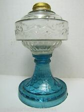 Antique Blue and Clear Glass OIl Lamp small scale scroll design