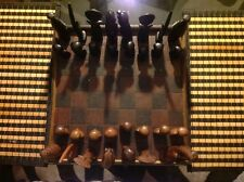 AFRICAN FIGURAL BUST TYPE CHESS SET HAND CARVED WOOD EBONY 32 GAMBIA