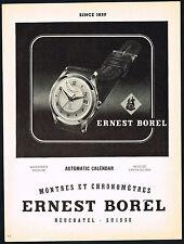 1950's Vintage 1953 Ernest Borel Automatic Calendar Wrist Watch Art Print AD