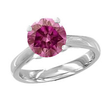 0.15 Carat Pink SI2 Round Diamond Solitaire Engagement Ring 14K White Gold