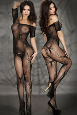 Sexy Exotic Sheer Black Spider Crawl Open Crotch BodyStocking One Piece Lingerie