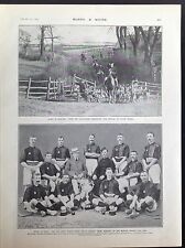ANTIQUE PRINT - WW1 FOXHOUND ENGLAND ROYAL RIFLES HOCKEY WINNERS INDIA - 1905