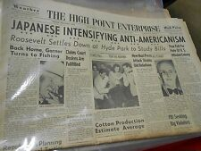 THE HIGH POINT ENTERPRISE (N.C) Newspaper Aug.8,1939 JAPANESE Anti-Americanism