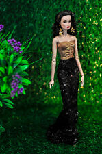 elenpriv gold and black gown Fashion royalty FR2 NuFace Color Infusion doll