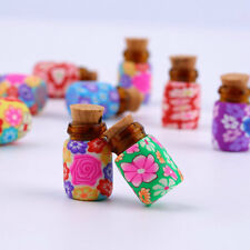 10 pcs Mini Glass Polymer Clay Bottles Containers Vials With Corks LU