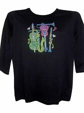 M 10/12  MUSIC CONCERT INSTRUMENTS ART DESIGN TERAZZO WOMENS SWEATER PULLOVER